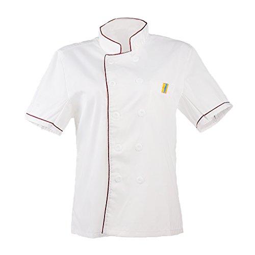 T TOOYFUL Kochjacke Kurzarm Bäckerjacke Jacke Kochkleidung Koch Gastronomie Berufsbekleidung Gastro Hemd Jacke Tops - Rot, M