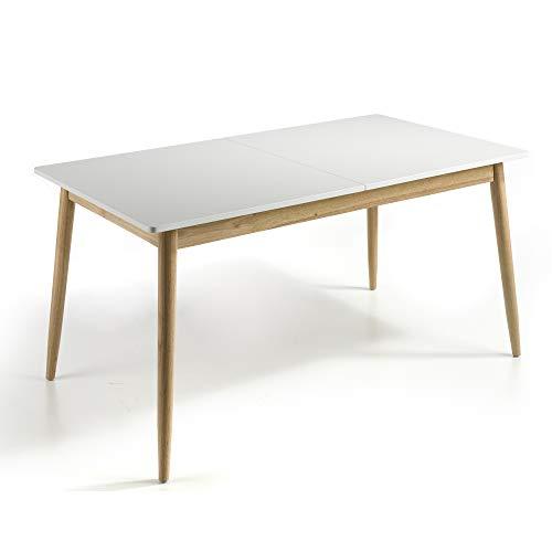 MOMMA HOME - Mesa de Comedor Extensible - Modelo Lucas - Color Blanco/Roble - Material MDF/Roble - Medidas 160-210x90x76 cm