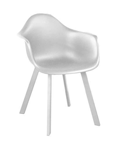 Proloisirs Lot de 4 fauteuils Design Coque Jato - Alu/résine - Blanc