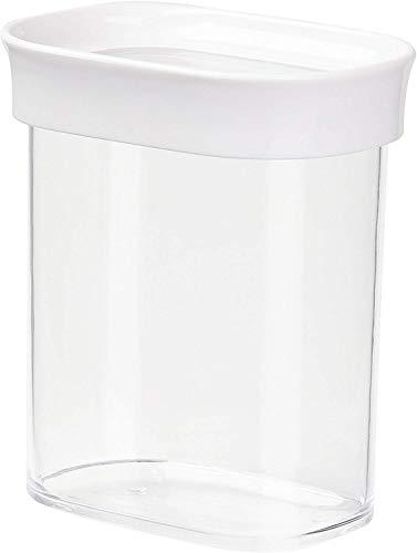 Emsa 513555 Stapelbare Vorratsdose für Trockenvorräte, 100 % Keimfrei, Volumen 0.38 Liter, Rechteckig, Weiß/Transparent, Optima