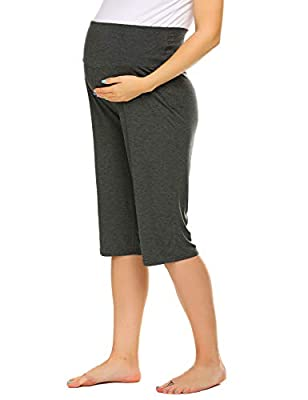 Ekouaer Pj Shorts Maternity Pants for Pregnant Mom Cotton Loungewear -Great Gift Dark Grey