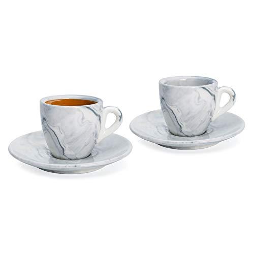 Hausmann & Söhne Espresso Tassen dickwandig | Set 4-TLG | 2er Set Pastell blaueMarmor Tassen mit Untertassen | Porzellan | Tasse 80ml | Espresso Tassen Set mit Untersetzer | Geschenkidee