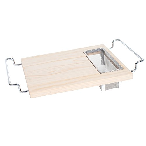 Cutting Board with Wire Colander- 2 in 1 Adjustable Wooden Chopping Board for Over the Sink with Stainless Steel Strainer by Chef Buddy