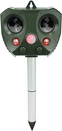 AVIS Repelente solar ultrasónico de animales salvajes, con potente luz LED, detector de movimiento, alcance efectivo de 10 metros, 13,5-45 kHz, 5 modos, adecuado para la mayoría de los animales, IP44
