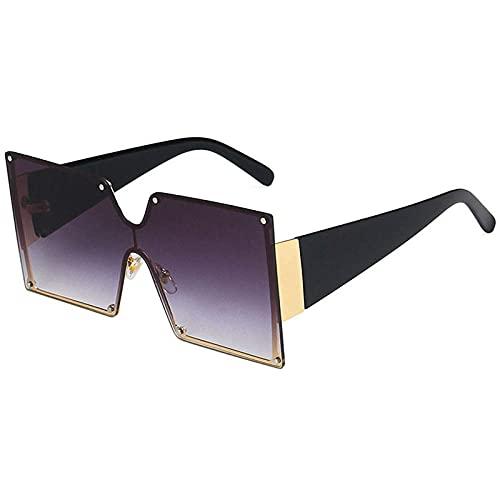 Gosunfly Gafas de sol de una pieza Gafas de sol graduadas cuadradas europeas y americanas señoras de moda-Gris degradado