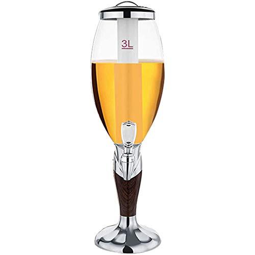 SIRUL 3 L Dispensador de Torre de Cerveza, dispensador de Cerveza para el hogar, con Luces LED y Tubo de Hielo extraíble, Fiestas, Uso de Bar en casa,Plata