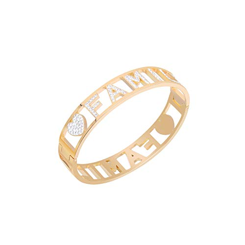 JinHan Colorful Letter Family Bangle Bracelet for Women Girls, Opening Fashion Jewelry Bangle, Shiny Cubic Zircon Crystal Inlay Cuff Bracelet to Friend Birthday Gift Silver/Gold/Rose Gold Plated