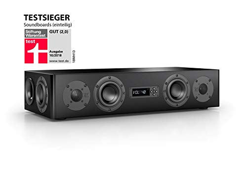 Nubert nuPro AS-250 Soundbar Testsieger | TV-Lautsprecher für Musikgenuss | Soundbase für klare Stimmen | Soundplate mit 2.5 Wege Technik | aktive Stereobase für Spitzenklang | Sounddeck Schwarz