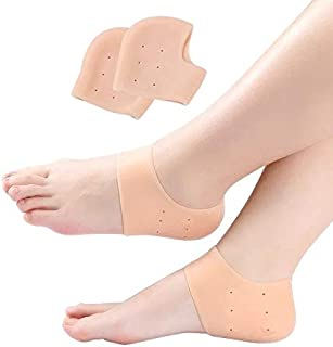 Diruno Anti Crack Silicone Gel Heel & Foot Protector Moisturizing Pad Socks for Pain Relief for Men and Women (Beige, Free...