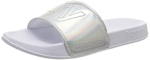 Superdry Pool Slide, Zapatos de Playa y Piscina Mujer, Plateado (Silver Holographic K5k), 40/41 EU