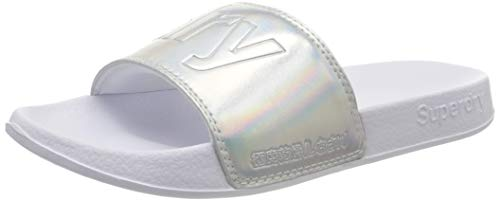 Superdry Damen Pool Slide Badeschuhe, Silber (Silver Holographic K5k), 38/39 EU