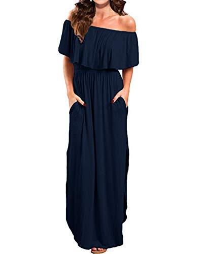 Kidsform Femme Robe Longue d'été Boheme Grande Taille Manches Courtes Chic Maxi Robe de Plage Fleurie Col Bateau Plissé Casual ,Bleu Marine,XL