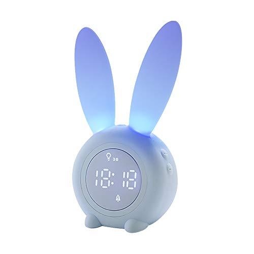 JYPS かわいいウサギの目覚まし時計シリコンナイトライト、女性と子供、ナイトライトと睡眠のタイミング、6つの着信音、温度表示、タッチコントロール、内蔵2000mAhバッテリー (青)