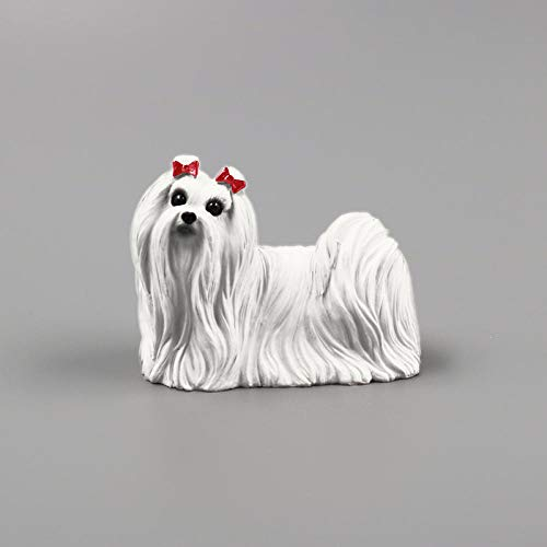 ZTIANEF Statue Ornament Sculpture Statue Maltese Dog Model Car Decoration Resin Crafts Collection-A
