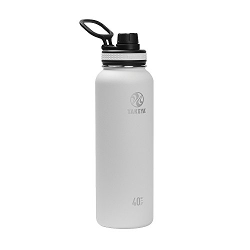 Takeya Originals Vacuum-Insulated Stainless-Steel Water Bottle, 40oz, White