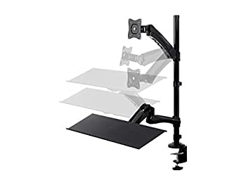 Monoprice Articulating Gas Spring Sit Stand Monitor and Keyboard Riser Desk Mount - Black 26 Inch Table Top Workstation | Easy to Use Compatible with Most Desks