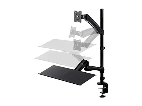 Monoprice Articulating Gas Spring Sit Stand Monitor and Keyboard Riser Desk Mount - Black, 26 Inch Table Top Workstation | Easy to Use, Compatible with Most Desks