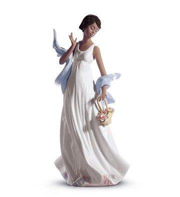 LLADRÓ Figura Mujer Brisa Romántica. Figura Mujer de Porcelana.