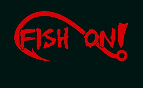A1154 Fish On Bass Fishing Decal Sticker (Red)