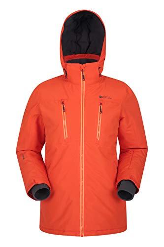 Mountain Warehouse Veste de Ski Galaxy Homme - Coutures soudées, Imperméable, Manteau d'hiver Respirant, Jupe Pare-Neige Amovible, Poche Forfait - Idéale par Temps Froid Orange Vif XS