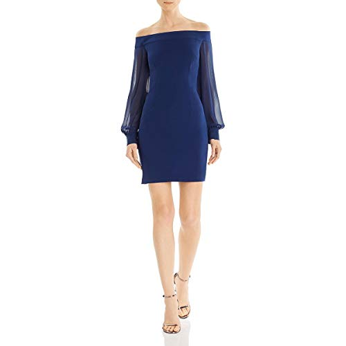 Price comparison product image Aidan by Aidan Mattox Womens Crepe Sheer Cocktail Dress Navy 4