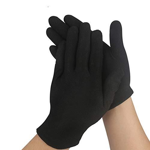 FEALING Handschuhe Baumwolle, 12 Paar Baumwollhandschuhe Schwarz Stoff Handschuhe Schwarz, Care Schutzhandschuhe, Bequem und Atmungsaktiv, für Hautpflege, Schmuck Untersuchen, Tägliche Arbeit