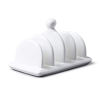 WM Bartleet & Sons 1750 T304 Traditional Porcelain 4 Slot Toast Rack with Carry Handle/Knob– White