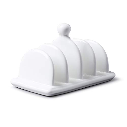 WM Bartleet & Sons 1750 T304 Traditioneller Toastständer aus Porzellan mit 4 Schlitzen und Tragegriff, Weiß