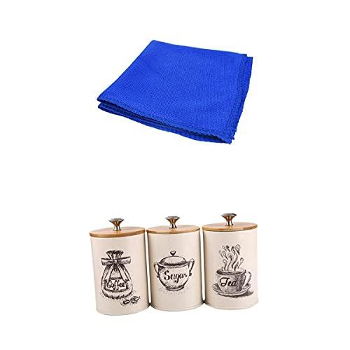 LOVIVER 3x Retro Tea Coffee Sugar Canisters Kitchen Jars Pot Tins Iron W/Lids