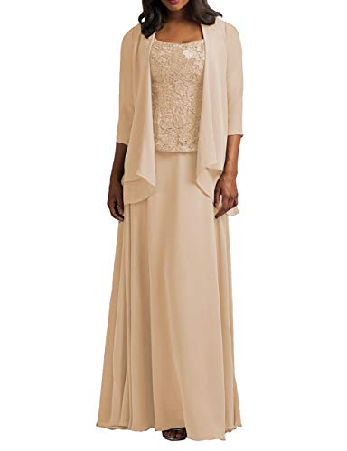 HUINI Brautmutter Kleider mit Jacke Chiffon Lang Abendkleider Lace Hochzeitskleid Festkleider Langarm Champagne 48