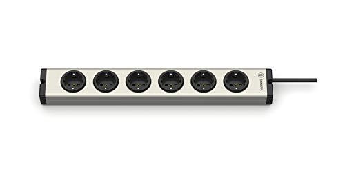 EHMANN 0600x00062031 Alu Universal Aluminium Steckdosenleiste 6-Fach, 1,5 m Zuleitung