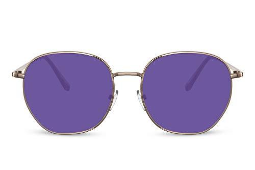 Cheapass Gafas de sol Sunglasses grandes redondas de metal dorado Retro Vintage púrpura lentes UV400 protegido Festival de verano para mujer