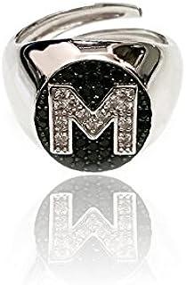 0c0e78ddb2b20b Anello ovale da mignolo in argento 925 con lettera personalizzabile in pavè  di zirconi