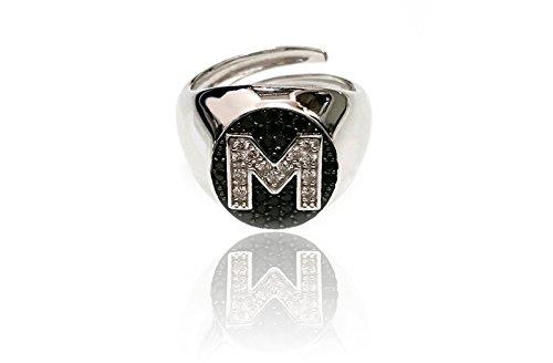 Anello ovale da mignolo in argento 925 con lettera personalizzabile in pavè di zirconi