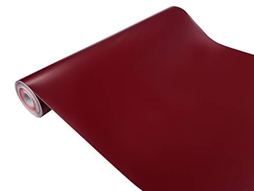 DecoMeister Klebefolien Deko-Folien Selbstklebefolie Möbelfolie Selbstklebend Einfarbig Einheitliche Farbe 45x100 cm Bordeaux Dunkelrot Rot Matt