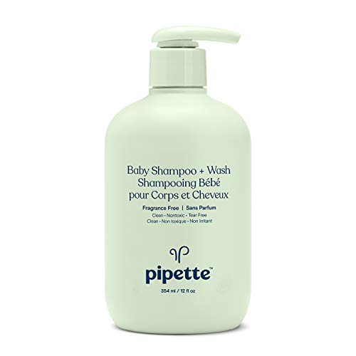 Pipette New Formula Baby Shampoo + Wash, 100% Plant-Derived Squalane and Free of Synthetic Fragrances, Tear-Free Baby Bath Time, Fragrance-Free Shampoo & Wash, 12 fl. oz.