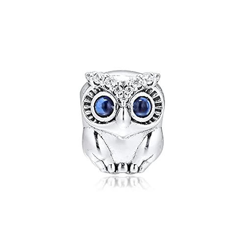 LISHOU Mujer Pandora S925 Plata De Ley Otoño Ojos Grandes Búho Brillante Moda Encantos Finos Bead Fashion Girl Pulsera Collares Fabricación De Joyas DIY