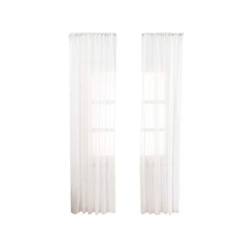VOSAREA Cortinas Finas de algodón y Lino Cortinas de Gasa Cortina de Textura Fina para Sala de Estar del Dormitorio - 100X200cm (Blanco)