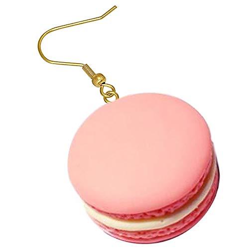 (E)[グリーンピアッシング] フックピアス レディース サージカルステンレス316L ピンクのマカロン ステンレスピアス 1個販売 片耳用 シングルピアス お菓子 スイーツ 人気