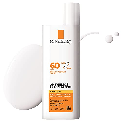 La Roche-Posay Anthelios Light Fluid Face Sunscreen Broad Spectrum SPF 60, Oxybenzone Free, Non Greasy, Non-Comedogenic, 1.7 Fl. Oz. (Packaging may vary)