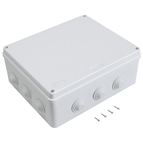 LeMotech ABS Plastic Dustproof Waterproof IP65 Junction Box Universal Electrical Project Enclosure White 11.8 x 9.8 x 4.7 inch (300 x 250 x 120 mm)