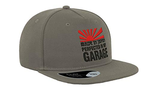 Made In Japan Perfected In My Garage JDM Japan Sun Bestickt Flaches Visierr Unisex Snapback Atmungsaktiv Cap Mütze Baseball Kappe Fullcap Trucker Komfortabel Outdoor Active Top Grau