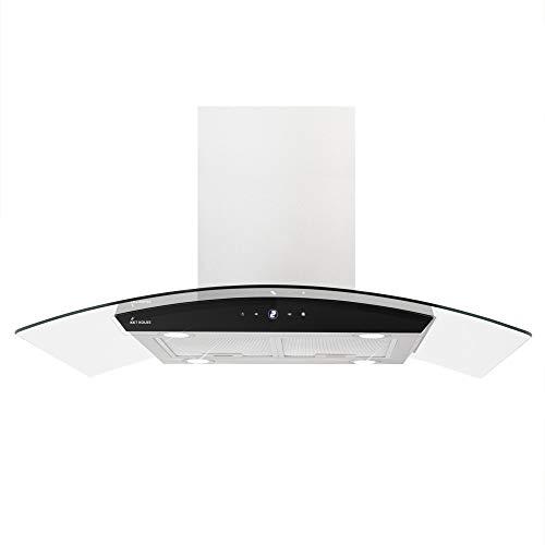 KKT KOLBE Premium-Dunstabzugshaube/Inselhaube / 90cm / Edelstahl/Klarglas/Extra-leise/Energieklasse A+ / 9 Stufen/LED-Beleuchtung/Display/TouchSelect Sensortasten/SINUS-INSEL-TC9
