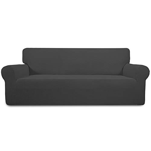 Easy-Going Stretch Oversized Sofa Slipcover 1-Piece Couch Sofa Cover Furniture Protector Soft with Elastic Bottom for Kids, Spandex Jacquard Fabric Small Checks(X Large,Dark Gray)