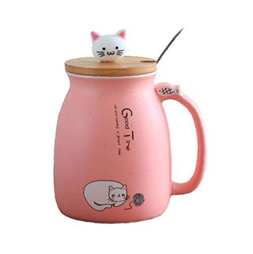 Cute Cat Style Tazze in Ceramica Con Coperchio E Cucchiaio Divertente Ceramica Tazza Di Caffè Della Novità Della Tazza Di Caffè Regalo Per Gli Amanti Kitty - Rosa