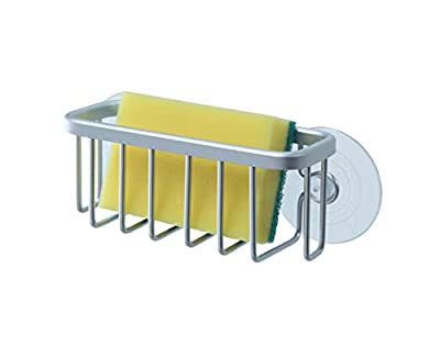 """SunnyPoint NeverRust Kitchen Sink Suction Holder for Sponges, Scrubbers, Soap, Kitchen, Bathroom, 6""""L x 2.36"""" W x 2.56""""H , Aluminum (Mat Silver, Set of 1)"""