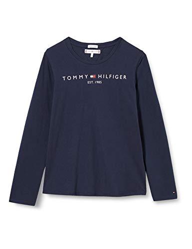 Tommy Hilfiger Essential tee L/s Camisa, Twilight Navy, 10 para Niñas