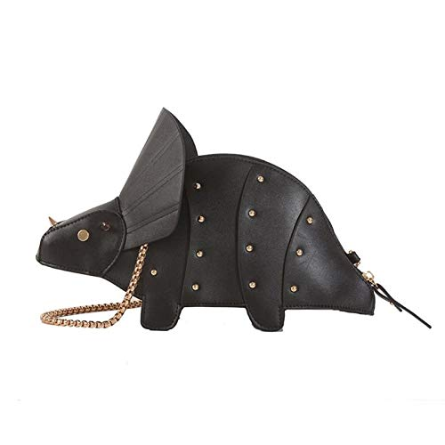 Women Fashion Dinosaur Shape PU Rivet Chain Crossbody Shoulder Bag Girl Messenger Bags Mini Clutch Purse black
