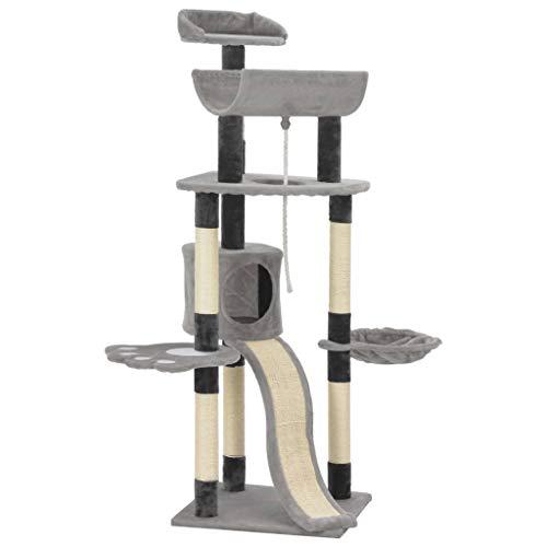 Tidyard Katzen-Kratzbaum Mit einem Haus, einem Kletterseil, einem Spielzeug, einem Korb, Kratzsäulen und Plattformen,Gesamtmaße: 50 x 50 x 145 cm (L x B x H) Grau
