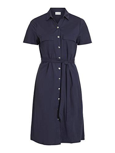 Vila Female Blusenkleid Kurzärmeliges, vorn gebundenes LNavy Blazer